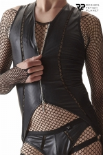 Body ouvert à zip - Regnes : Body noir en tissu brillant dessiné pour les hommes par la marque Européenne Regnes.