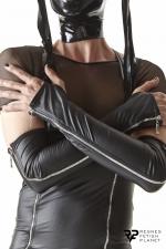 Gants longs en wetlook avec fermetures éclair - Regnes : Superbes gants longs esprit Cross Dresser avec fermeture eclair couleur acier. Fabriqués en Europe.